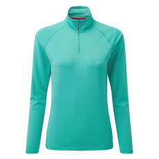 Gill Womens UV Tec Long Sleeve Zip Tee - Turquoise