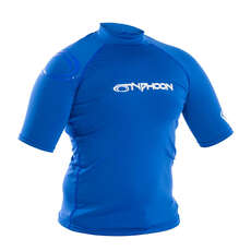 2020 Typhoon Junior Flatlock Short Sleeve Rashguard - Aqua Blue