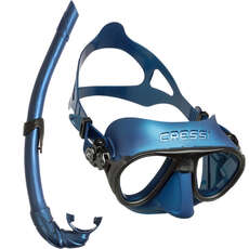 Cressi Calibro Corsica Mask & Snorkel Set - Blue/Black