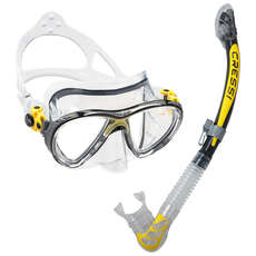 Cressi Big Eyes Evolution & Alpha Dry Top Mask & Snorkel Set - Yellow