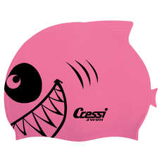 Cressi Kids Shark Silicon Swimming Cap - Pink