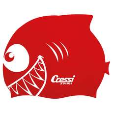 Cressi Kids Shark Silicon Swimming Cap - Red
