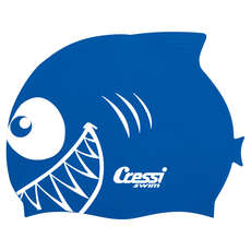 Cressi Kids Shark Silicon Swimming Cap - Royal Blue