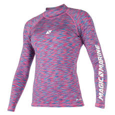 Magic Marine Womens Cube Long Sleeve Rashvest 2019 - Blue Pink Melee