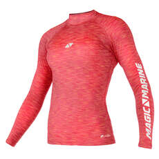 Magic Marine Womens Cube Long Sleeve Rashvest 2019 - Pink Melee