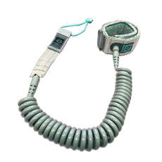Mystic SUP Coiled Leash - 10ft - Grey/Mint