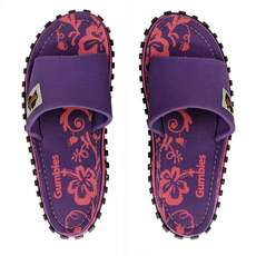 Gumbies Womens Slide Canvas Flip Flops - Purple Hibiscus