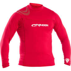 Typhoon Long Sleeve Flat Locked Rash Vest - Rich Red