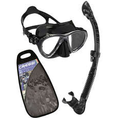 Cressi Big Eyes Evolution & Alpha Dry Top Mask & Snorkel Set - Black/Black