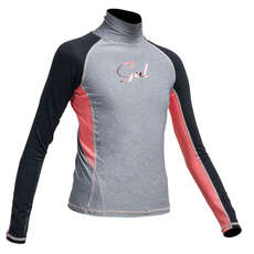 Gul Junior Flatlock Long Sleeve Rashguard  - Marl/Black