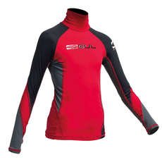 Gul Junior Flatlock Long Sleeve Rashguard  - Red/Black