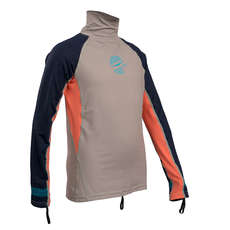 Gul Junior Girls Long Sleeve Rashvest 2019 - Silver/Coral