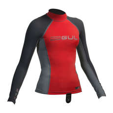 Gul Junior Long Sleeve Rashguard 2019 - Red/Dark Grey