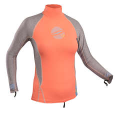 Gul Ladies Swami Long Sleeve Rashvest 2019 - Coral/Marl