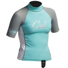 Gul Surf Junior Girls Short Sleeve Rashguard  - Glacier/White