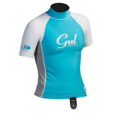 Gul Surf Junior Girls Short Sleeve Rashguard 2019 - Turquoise/Silver
