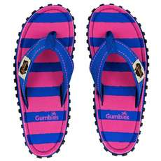 Gumbies Womens Islander Canvas Flip Flops - Blue & Pink Stripe