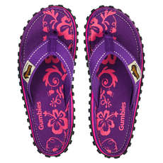 Gumbies Womens Islander Canvas Flip Flops - Purple Hibiscus