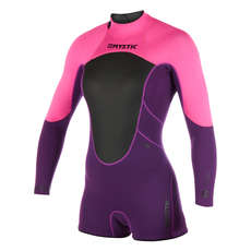 Mystic Womens Brand 3/2mm Back-Zip Longarm Shorty Wetsuit 2019 - Purple