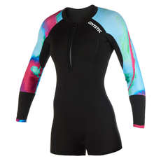 Mystic Womens Diva 3/2mm FZip Longarm Shorty Wetsuit  - Aurora